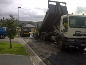 AWP delivering our own tarmac on our own purpose built vehicle, helping to keep the material at the required temperature.